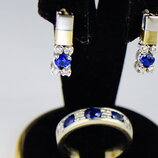 Золотые серьги и кольцо с бриллиантами и сапфирами