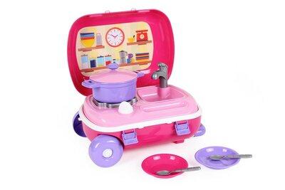 Кухня с набором посуды в чемодане на колесиках Технок , арт. 6061