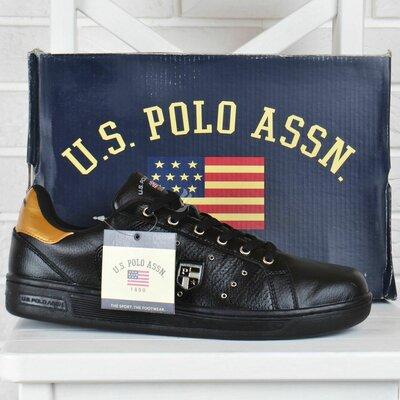 Кроссовки мужские кожаные U.S. polo assn черные на шнуровке