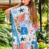 Необычный стиль бохо пляжная туника из хлопка с вышивкой и голубой каймой