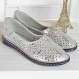 Балетки женские кожаные мокасины с перфорацией Турция серые серебро прошитые