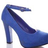 Свадебные замшевые туфли на каблуке с ремешком синего цвета электрик 36 37 38 39 40