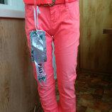 Крутые котоновые летние Брюки джинсы на девочку 7-14 лет