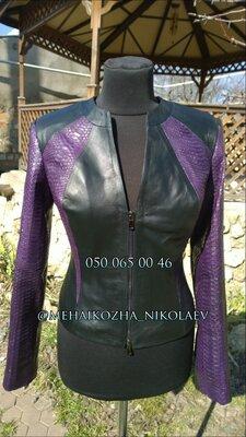 Головокружительная куртка из натуральной кожи и вставками из натуральной кожи питона
