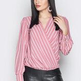 Нивинка от производителя блуза в полоску на запах блуза Angelina lrf-1926 розовая полоска