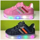 Кроссовки детские с подсветкой подошвы Boyang от Tom.m 26-31 р 2 цвета