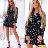 Красивое платье в горошек 42 - 44 три расцветки