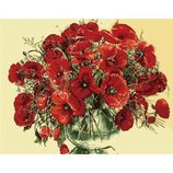 Картина по номерам. Букеты Красные маки в стеклянной вазе 40 50см KHO1076