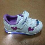 Светящиеся кроссовки 21-25 р. Promax на девочку, кросовки, кросівки, промакс, дівчинку, белые, свет