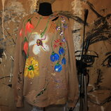 ручная роспись одежды свитшот с ручной росписью под заказ любой рисунок на любой одежде