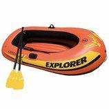 Надувная двухместная лодка Explorer 200 Intex 58331 грузоподъемностью до 95 кг взрослый ребенок