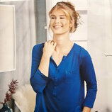 Кофточка, блуза, рубашка в стиле хенли р. s36-38 blue motion германия электрик реглан