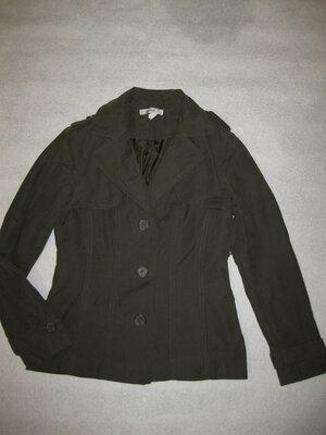 165 рост, пиджак Zara короткий плащ тренч хаки оливковый, классика