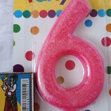 Свеча, свечка для торта, цифра 1, 5, 6 на День Рождение