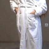 Белоснежный мягкий махровый халат р.48-54, хлопок