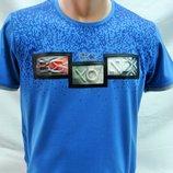 Футболка мужская SAVIOLA голубая с рисунком на груди M,L,XL,2XL