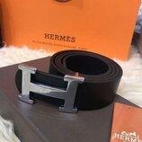 Кожаный чорный ремень Hermes, Хермес, Гермес с серебристой бляхой унисекс
