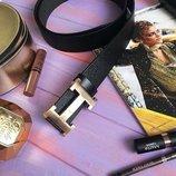Кожаный чорный ремень Hermes, Хермес, Гермес с золотистой бляхой унисекс