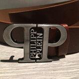 Кожанный коричневый и чорный ремень в стиле Philipp Plein Филипп Плейн , унисекс