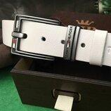 Кожаный белый мужской ремень в стиле Tommy Hilfiger, Томми Хилфигер