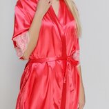 Serenade 1301 1302 коралловый атласный халат батал с кружевом и сорочка
