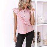 Стильные розовые блузы с диагональной оборочкой