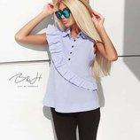 Стильные голубые блузы с диагональной оборочкой