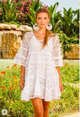 Потрясающее летнее белое платье полностью в кружевах код 1607