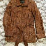 Фирменная кожаная куртка Italy Fashion,удлиненная куртка,тренч,плащ подарок
