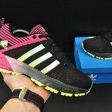 подростковые кроссовки ADIDAS Marathon 36-41р черные с розовым