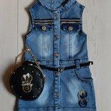 Модный джинсовый сарафан для девочек, с сумочкой в комплекте. Турция.