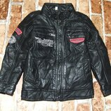 куртка кожаная деми стеганка на синтапоне 4года большой выбор одежды 1-16лет