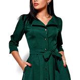 Стильное зеленое платье рубашка