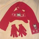 Деми набор Джордж с хелоу китти шапочка, шарфик, перчатки