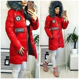 Распродажа Стильная Женская зимняя куртка пальто размер 44-46 Красный коралл