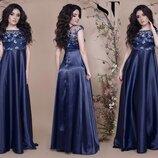 Платье нарядное в пол королевский атлас молоко черный синий марсалового