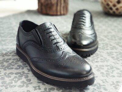 3659a86f131d Новинка. Топ качество. Мужские кожаные туфли броги Webster черного цвета  кожа