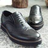 Новинка. Топ качество. Мужские кожаные туфли броги Webster черного цвета кожа