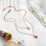 Трендовая цепочка ожерелье двойная с подвеской ракушка золотистого цвета