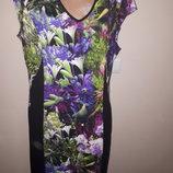 XL вискоза платье цветы