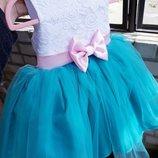 Нарядное платье детское бирюза