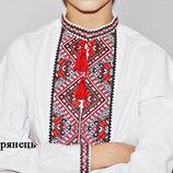 Вышитая сорочка для мальчика. Стильная украинская вышивка. Модель Багрянец.