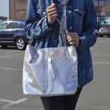 Супер модная сумка-лазерка на плечо кожаная , серебро
