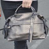 Молодежная сумка из натуральной кожи под крокодила, бронза/серебро хамелеон