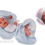 Кукла пупс реборн младенец Baby Tonet Saco в голубом 33 см, Antonio Juan 6025, Антонио Хуан
