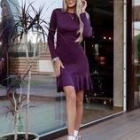 Замшевое платье фиолетового цвета