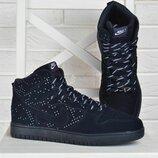 Кроссовки мужские замшевые Nike Air Max хайтопы синие