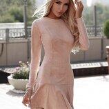 Замшевое платье цвета Пудра