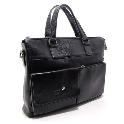 Портфель мужской кожаный для документов, нетбука черный Mont Blanc 2025-4