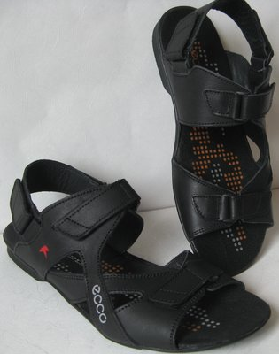 375fd8587 Ecco Black Мужские сандалии на липучках Натуральная кожа лето босоножки Экко